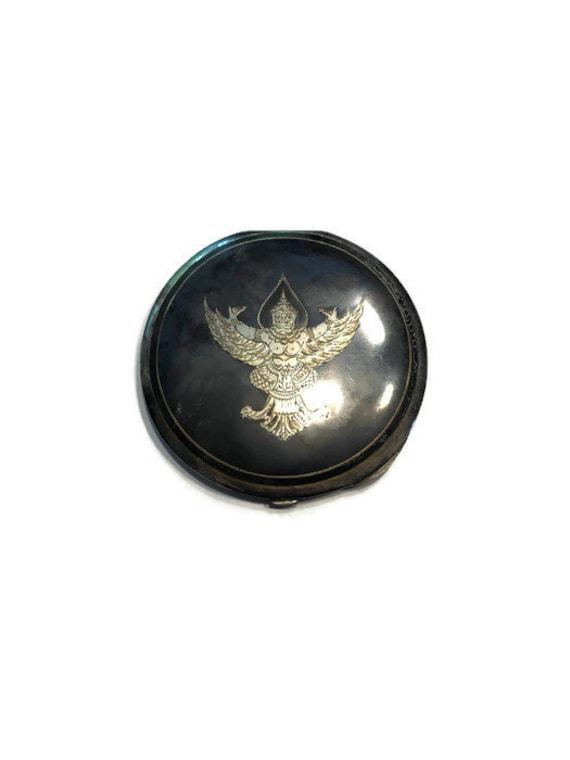 Vintage Niello Compact, Siam Sterling Silver Compa