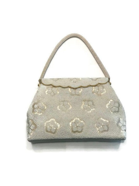 White Beaded Evening Purse, Vintage 1950s Beaded H