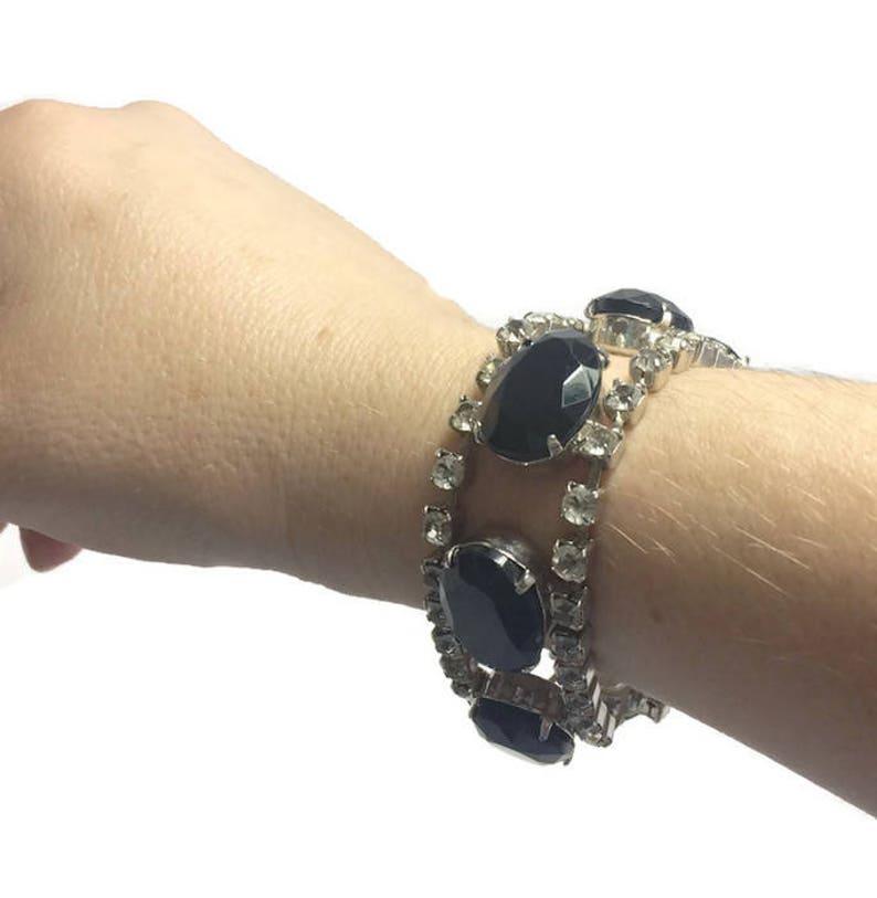 Tennis Bracelet 1950s Costume Jewelry ON SALE Vintage Black Glass and Rhinestone Bracelet