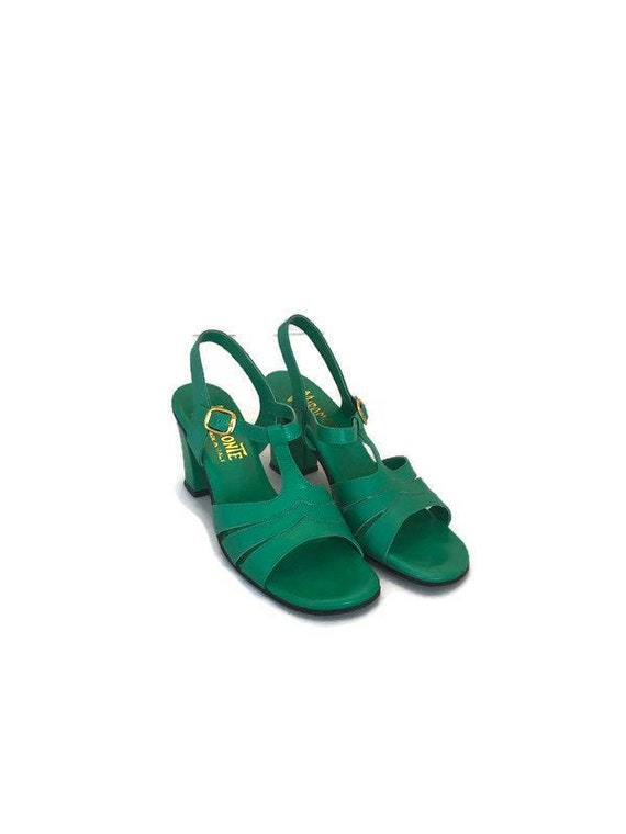 70s Does 40s Green Leather Slingback Sandals, Mira