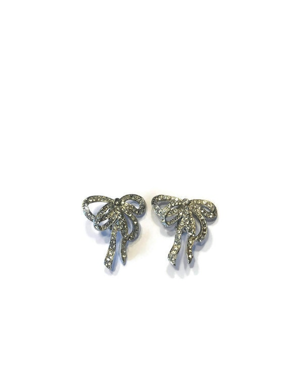 Signed Jay Feinberg Rhinestone Bow Earrings, 1980s