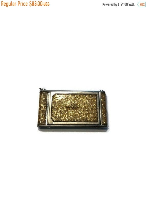 Vintage compact Art Deco enamel Black with gold inlay design powder and blushrouge compact French Ormolu edge 1920s
