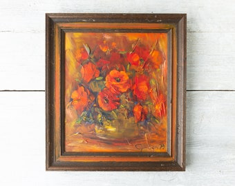 Vintage Framed Floral Painting - Hand Painted Orange Flower Painting of Poppies - Floral Wall Art - 16 x 18 Still Life Painting with Texture