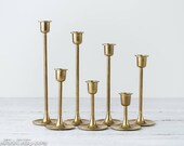 7 Vintage Brass Graduated Candlesticks - MCM Tulip Candle Stick Holders - Brass Taper Candle Holders - Wedding Decor