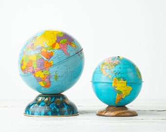 ONE Vintage Metal Globe Bank - Ohio Art - Metal Piggy Bank - Childrens Coin Bank - Tin Lithograph Globe - Small World Decor