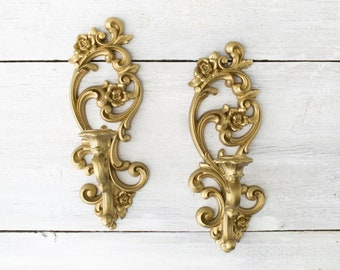 2 Vintage Gold Wall Candle Sconces - Ornate Plastic Candlestick Holders - Scrolled Plastic Wall Sconces - Wall Candle Holders - Gold Sconces
