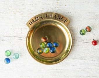 Vintage Brass Pocket Change Dish - Brass Ring Dish - Dad's Change Collector Tray - Trinket Dish - Small Brass Tray - Catchall - Ring Dish