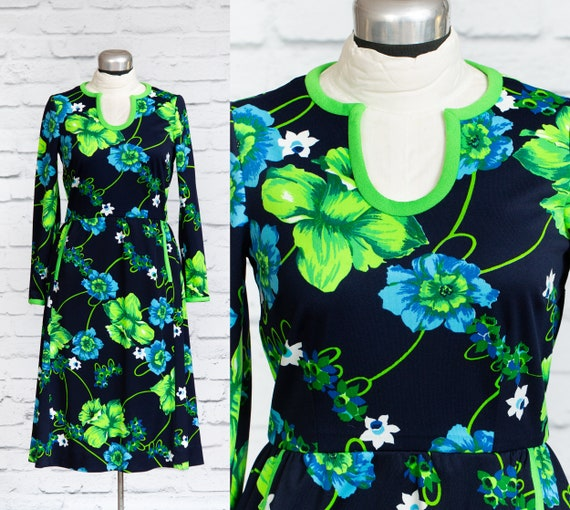 Vintage Vibrant Blue and Green Floral Dress - 60's