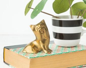 Vintage Brass Dog - Dog Figurine - Brass Animal - Yorkshire Terrier Lover Gift - Brass Paperweight - Office Decor - Yorkie Figurine