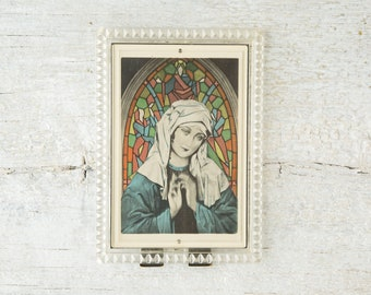 Vintage Lenticular Virgin Mary Picture - Moving Madonna Framed Picture - Flicker Image - Religious Icon Art - Religious Artifact