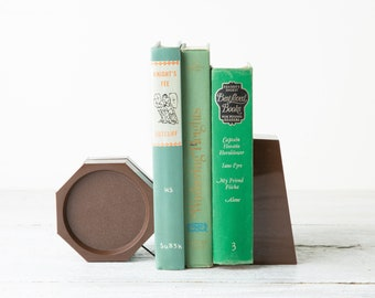 Vintage Retro Bookend BookTrap - 1980s Park Sherman DIV Plastic Mod Decor- 80's Brown Retro Office Decor- Tension Book Holder- Mid Mod Decor