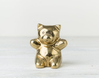 Vintage Brass Bear - Teddy Bear Figurine - Brass Animal - Gold Bear Decor - Nursery Decor - Brass Paperweight