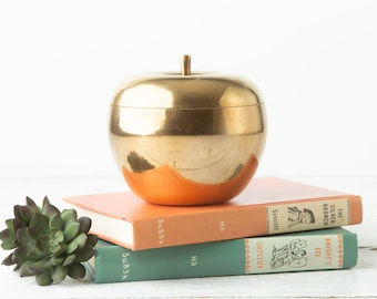 Vintage Large Brass Apple Container - Brass Fruit Jar - Mid Century Brass Decor - Brass Fruit - Fruit Decor - Shelf Decor - Trinket Box