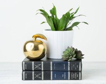 Vintage Brass Apple Bookend or Figurine - Brass Decor - Apple Decor - Brass Book End - Gold Office Decor - Golden Apple - Mid Century Decor