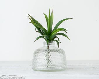 One Vintage Clear Glass Vase - Anchor Hocking Textured Jar - Narrow Neck Vase - Vases for Wedding - Vases for Centerpieces