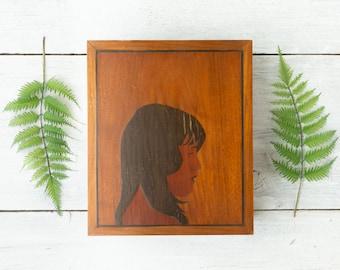 Vintage Large Wooden Box with Face - Unique Portrait - Inlay Wood Box - Large Marquetry Portrait Box - Portrait of Woman Profile - Folk Art