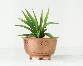 Vintage Small Copper Planter - Metal Plant Pot - Hammered Flower Pot - Boho Planter - Metal Planter - Copper Plant Pot - Bohemian Planter