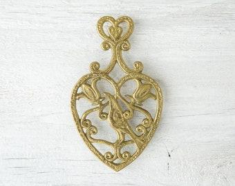 Vintage Brass Trivet - Metal Trivet - Metal Coaster - Gold Footed Trivet - Metal Pot Holder - Plant Coaster - Plant Trivet