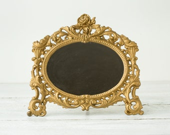 Vintage Ornate Gold Standing Mirror - Tripod Vanity Mirror- Tabletop Mirror by Iron Art- Old Gold Mirror for Table- Retro Glam Dresser Decor
