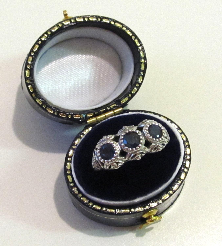 three stone genuine sapphire filigree ring band sterling. Black Bedroom Furniture Sets. Home Design Ideas
