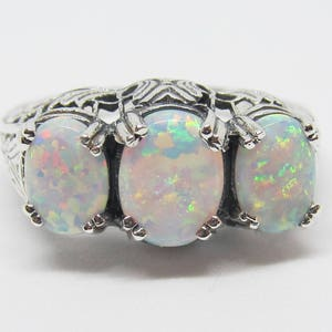 Blue Fire Opal Filigree Ring Band Sterling Silver Size Antique Vintage Edwardian Art Deco Floral