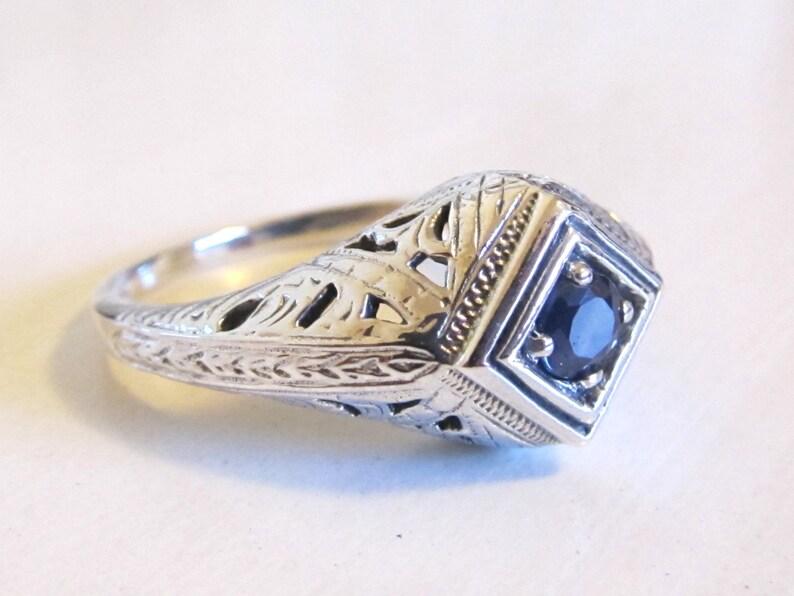 Genuine Sapphire Sterling Silver Filigree Engagement Ring Size 8 Antique Vintage Art Deco Blue Gemstone