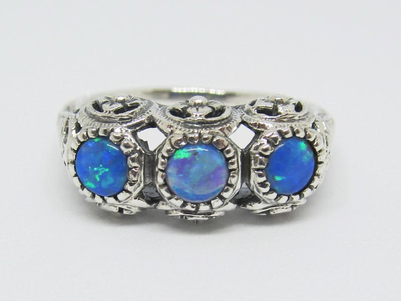 Blue Fire Opal Filigree Wedding Band Ring Sterling Silver Size image 0