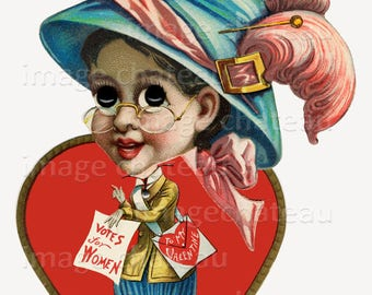 SUFFRAGETTE Votes for Women VALENTINE Digital Download Printable Craft Image of vintage old Enthusiastic Woman Wanting Rights and Love Too