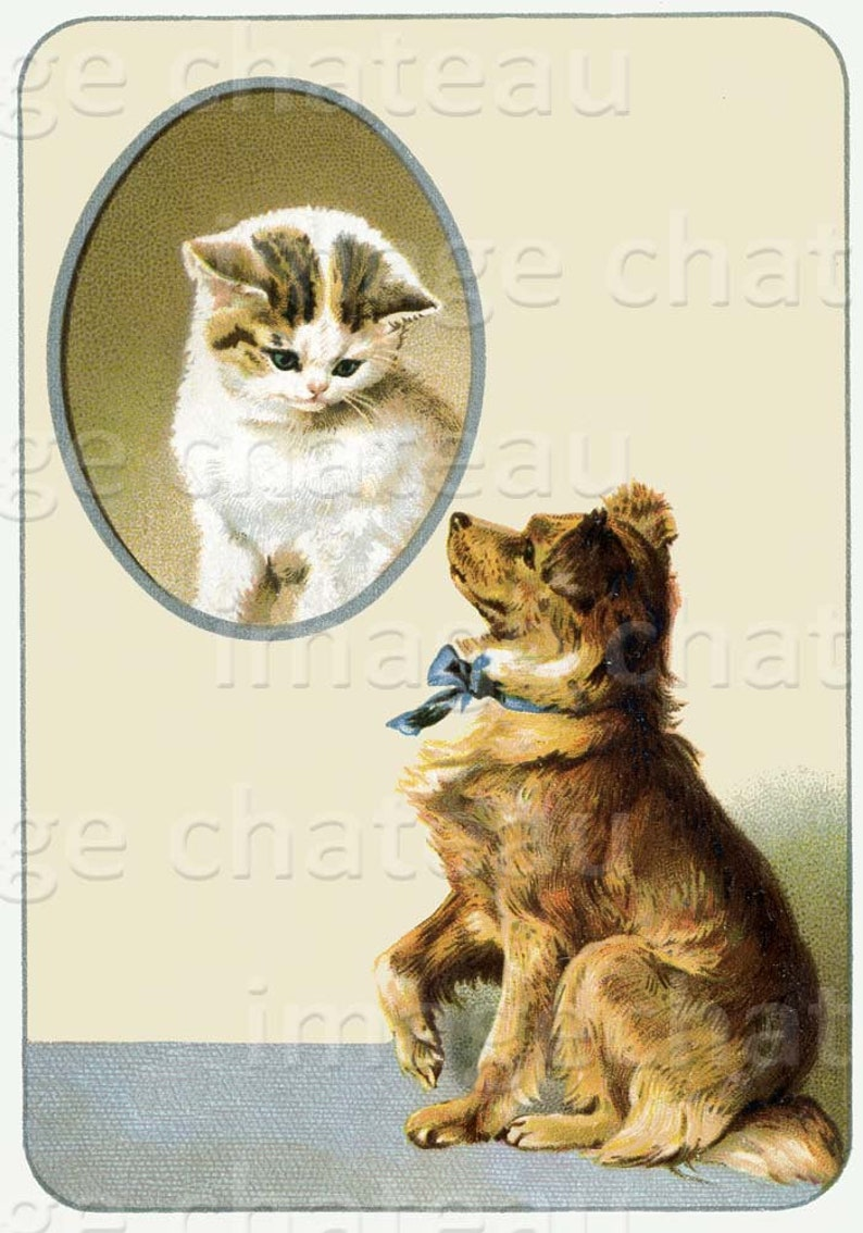 8bea5bee5f62 DOG and CAT Kitten Digital DOWNLOAD Printable Craft Image