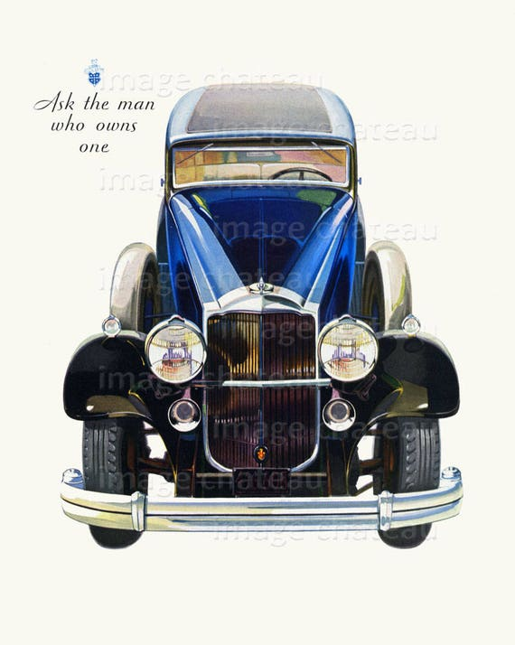 PACKARD Big Blue Car Of 1933 DIGITAL Download Ask The Man Who Owns One Slogan Crafting Old Automobile Image Or To Frame Imagechateau