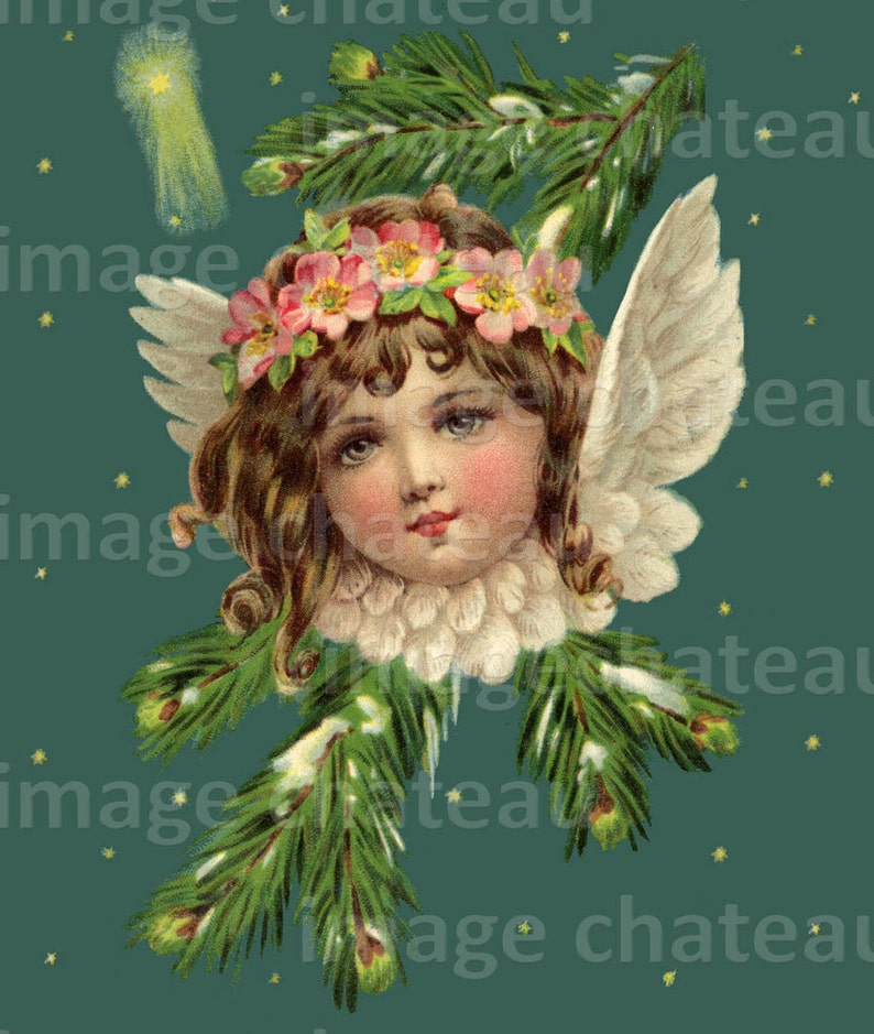 Innocent Young Angel With Wings And Stars Printable Art Edwardian Era Christmas Or New Years Or Other By Imagechateau