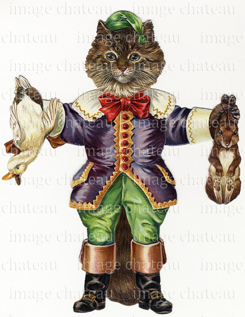 PUSS In BOOTS Mechanical CAT Paper Doll Toy Jumping Jack cutout  Anthropomorphic String Pull download artwork Craft Image from imagechateau