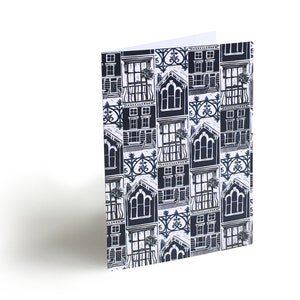 Wrapping paper; lino cut designs inspired by London\u2019s architecture in the pastel colours of Primrose Hill Set of 6 sheets.