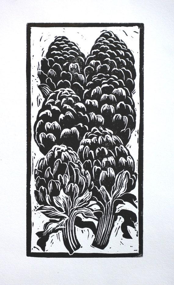 Linocut Print Artichoke