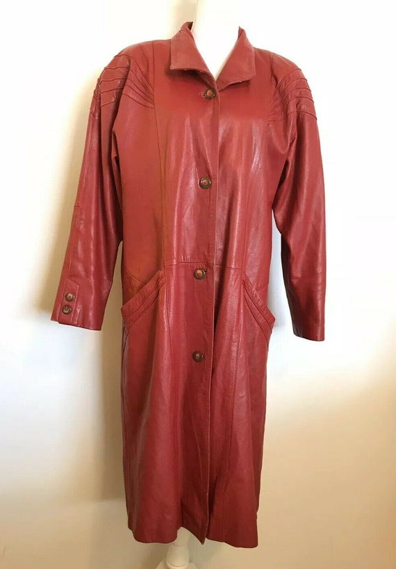 PELLE Vintage 80's Red Leather Trench Coat Large W