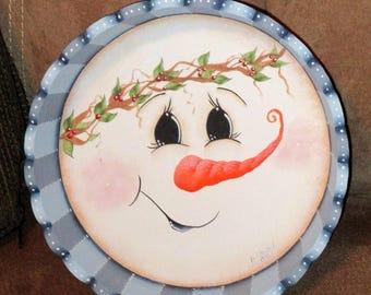 HP Snowman Wooden Scalloped Christmas Bowl