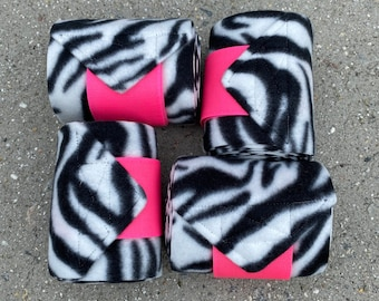 Custom Made Horse or Pony Polo Wraps by The Barn Closet in Hot Pink Yellow and White Floral Print FREE SHIPPING