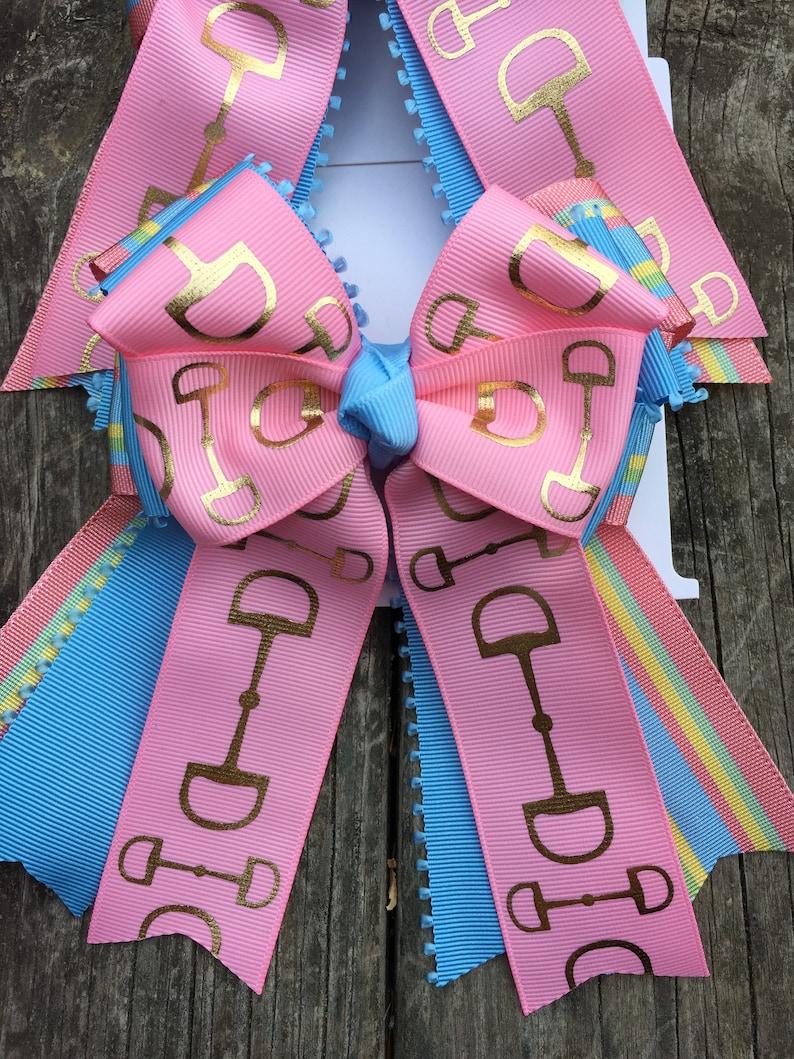 Leadline by The Barn Closet Pink Blue Bridle Bit Custom Equestrian Show Bows Hair Bows Short Stirrup