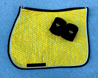 Saddle Pad English Glitter Bees withBling Trim Horse or Pony Sizes with or without Bee Polo Wraps
