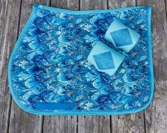 Saddle pad Peacock Feather Blues English Horse pony Saddle Pad with Matching Polo Wraps and Bling Horse and Pony Size