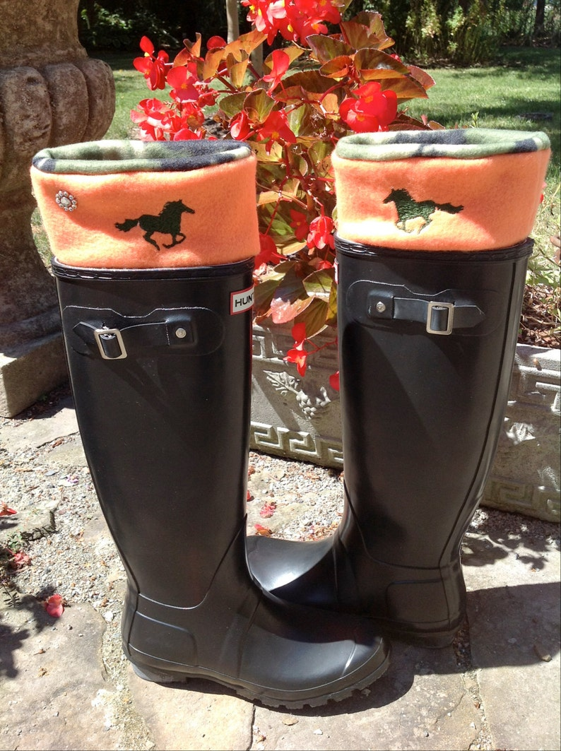 8ef0718e6a7 Camo and Blaze Orange Custom HUNTER Boot Liners, Socks, Wellie Liners with  Running Horse