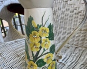 Yellow purslane on a cream metal pitcher. 13 Handpainted by a Nebraska Artist - each can one of a kind- Free shipping