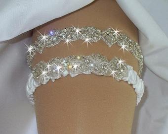 Sparkle Wedding Garter Set, Wedding Garter with Rhinestones, Keepsake Garter Set, Wedding Bling Crystal Garter, Bridal Garter, Bridal Garder