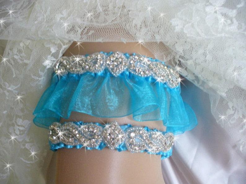 Turquoise Bridal Garter Garter set Rhinestone Garter with Toss Garter Weddings Something Blue Blue Wedding Garter Set