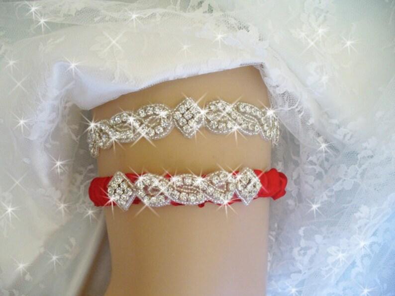 63350d519 Red Wedding Garter Red Bridal Garter Rhinestone Garter