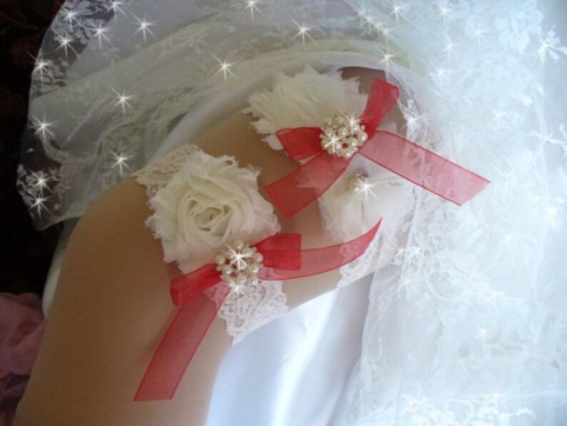 Red Wedding Garter Belts Wedding Accessories Keepsake Garter w Toss Bridal Lingerie Red Bridal Garter Vintage Style Wedding Garter Set