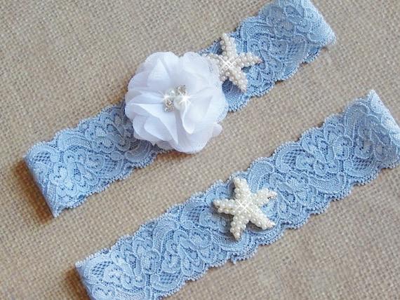 Beach Wedding Garter Set Blue Lace Garter Starfish Garter Lace Wedding Garter Something Blue Bridal Garter Set Beach Garter Set