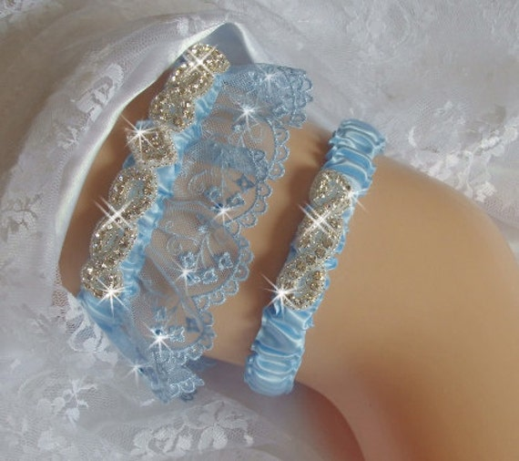 Tradition Of Wedding Garter: Items Similar To Something Blue Garters Wedding, Wedding