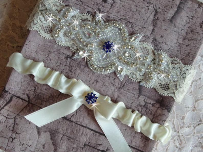 Wedding Dress Wedding Garder Something Blue Garter Rhinestone Garter Lace and Satin Bridal Garter Royal Blue Wedding Garter Set