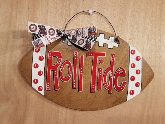 Alabama Football Door Hanger Roll Tide Crimson Tide Art Etsy